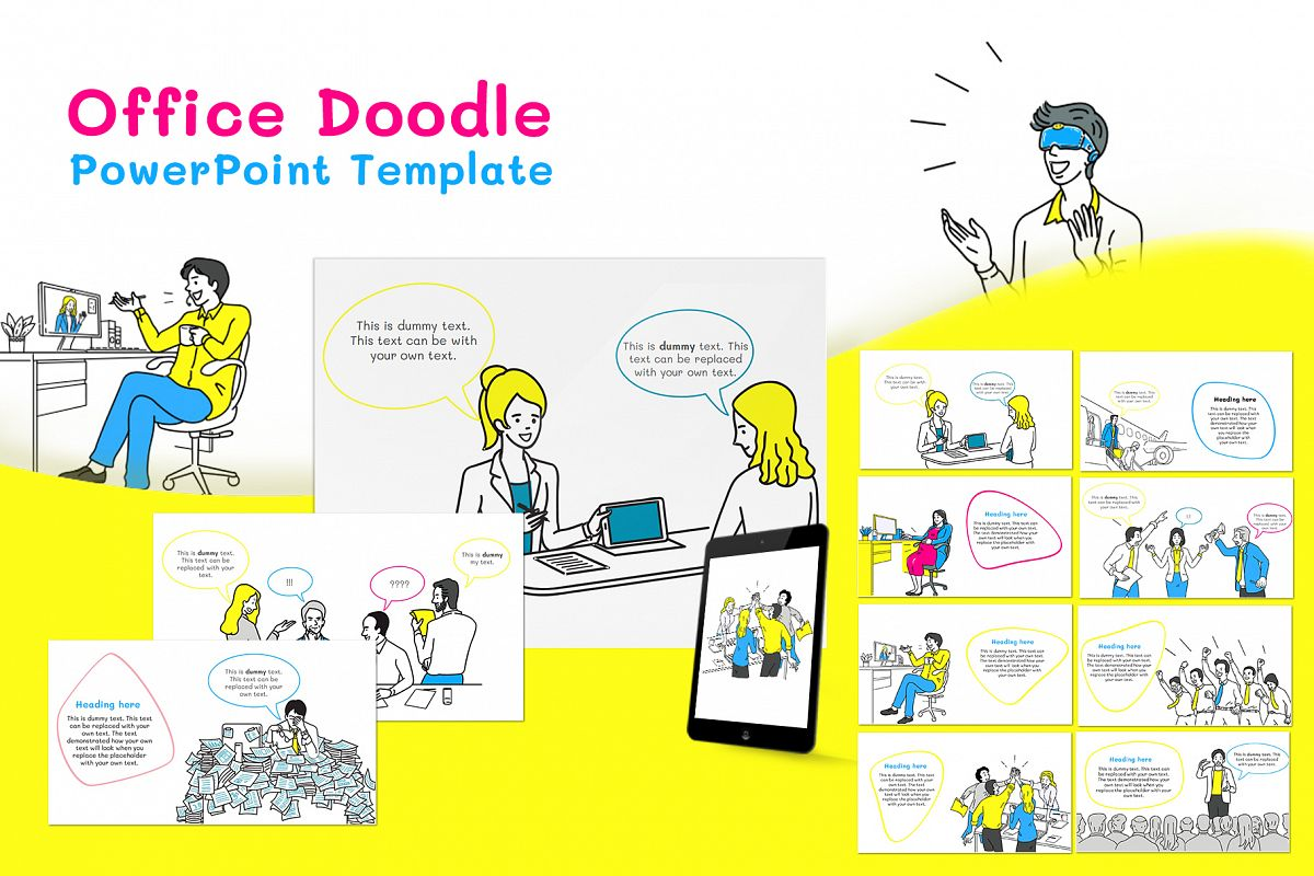 Office Doodle PowerPoint Template example image 1