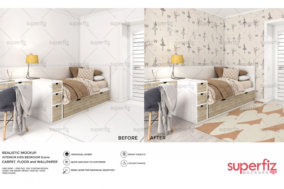Wallpaper, floor and carpet Mockup Kids Bedroom SM62 example image 1