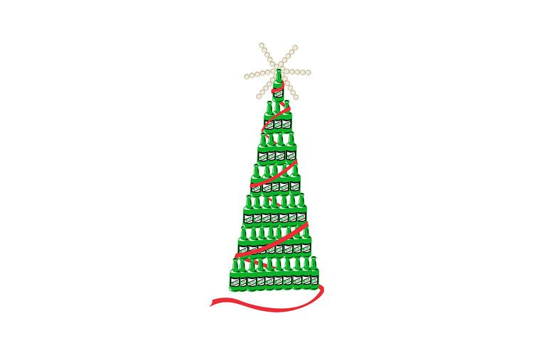 Beer Bottle Christmas Tree Retro example image 1