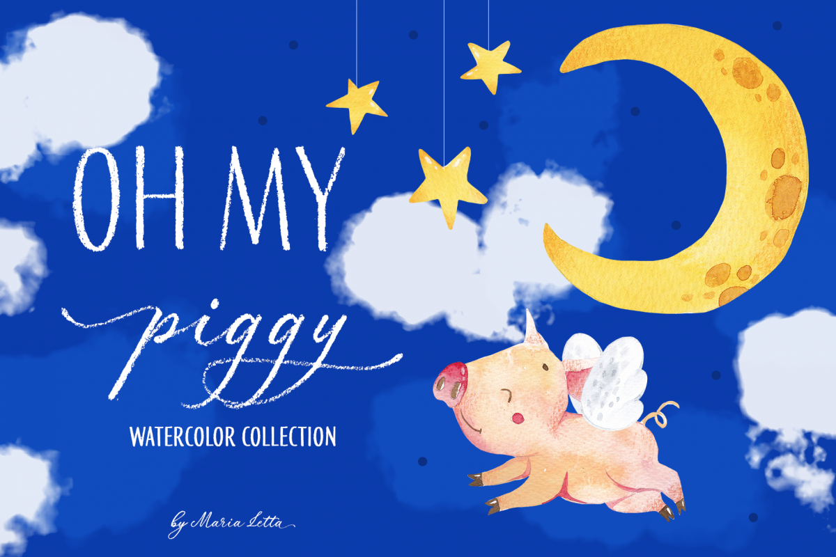 Oh my piggy - watercolor collection example image 1