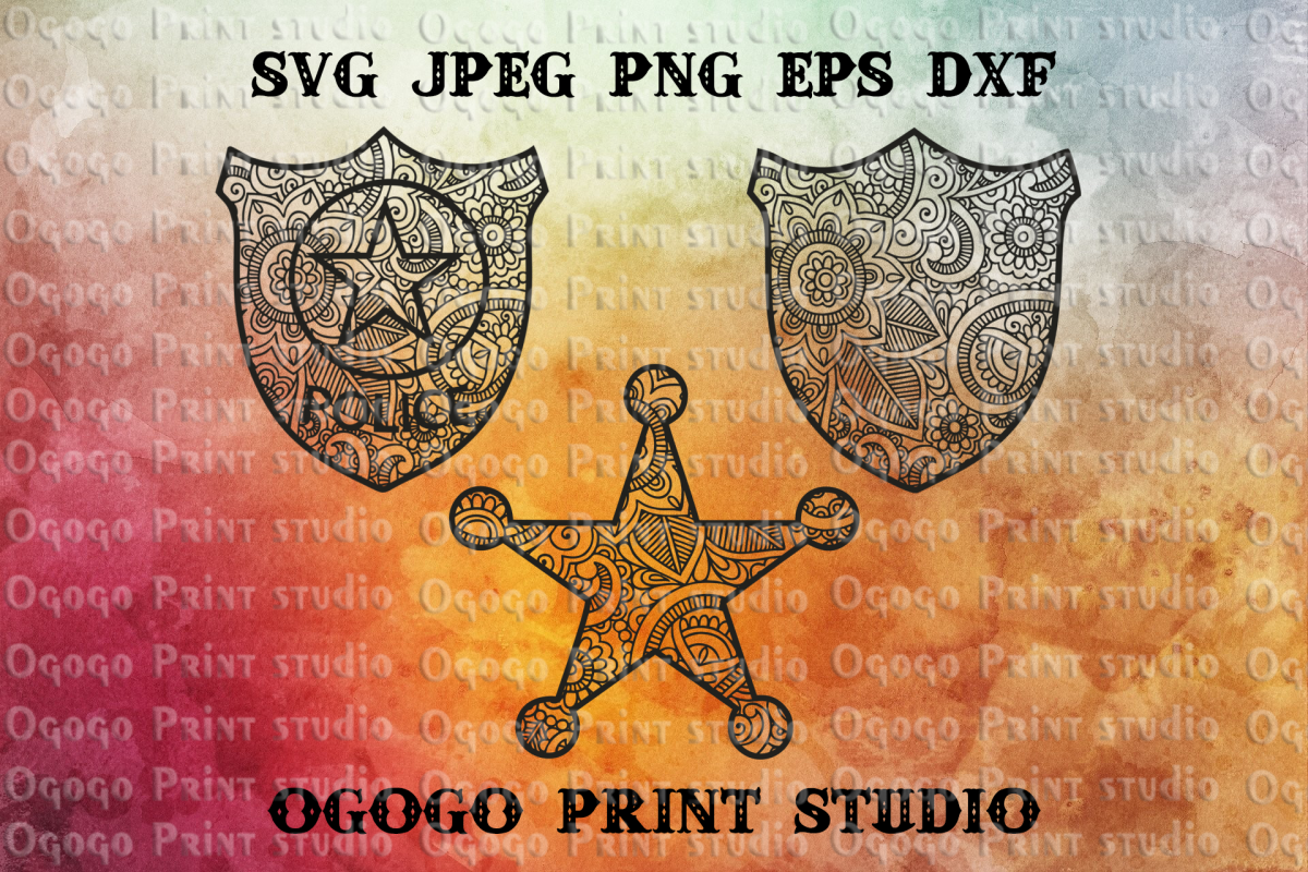 Police badge SVG, Zentangle Svg, Mandala Svg, Sheriff badge example image 1