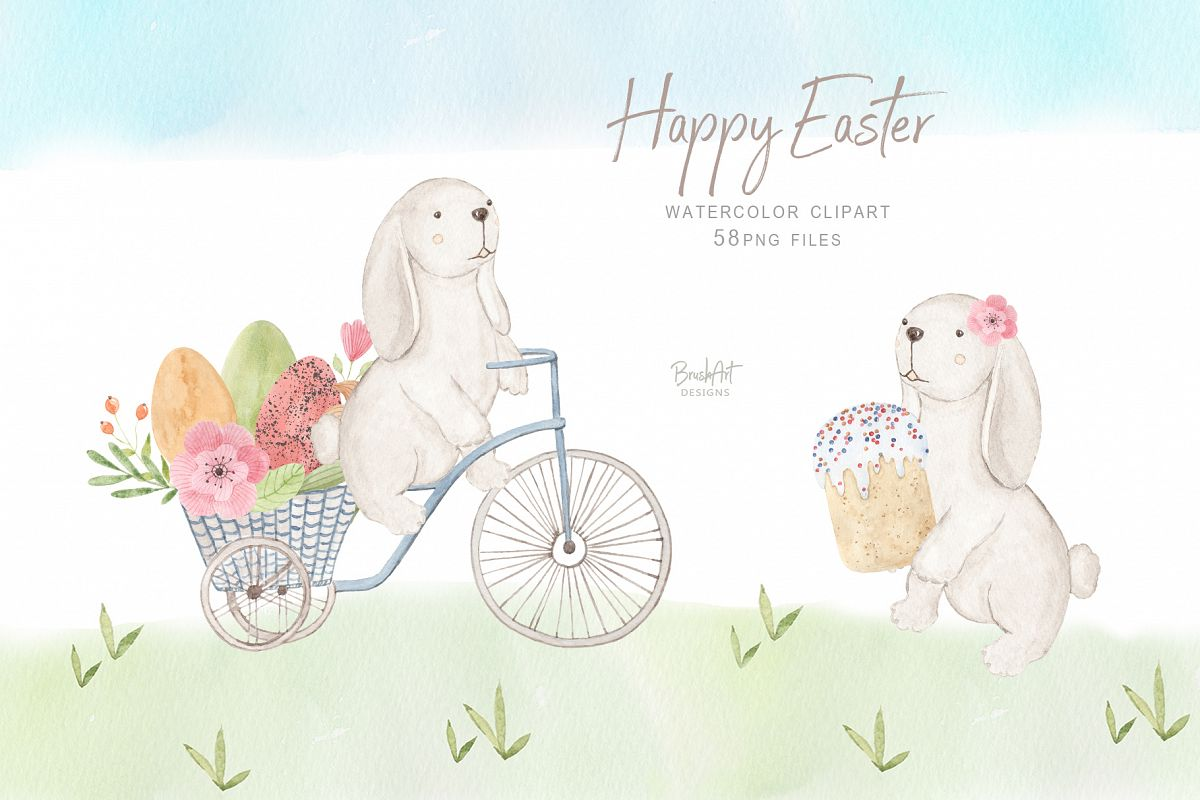 Happy Easter. Watercolor clipart. example image 1