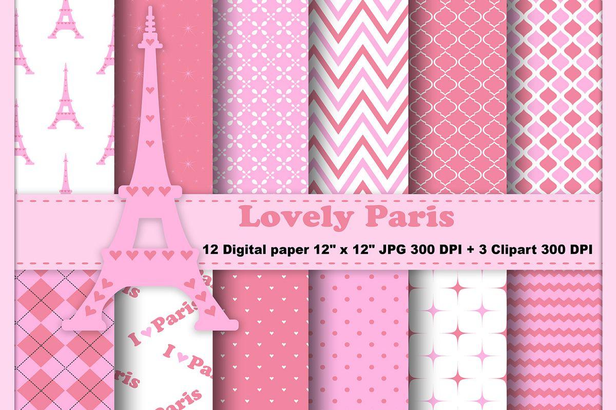 Paris Digital Paper Eiffel Tower Background Pink Paris Pattern