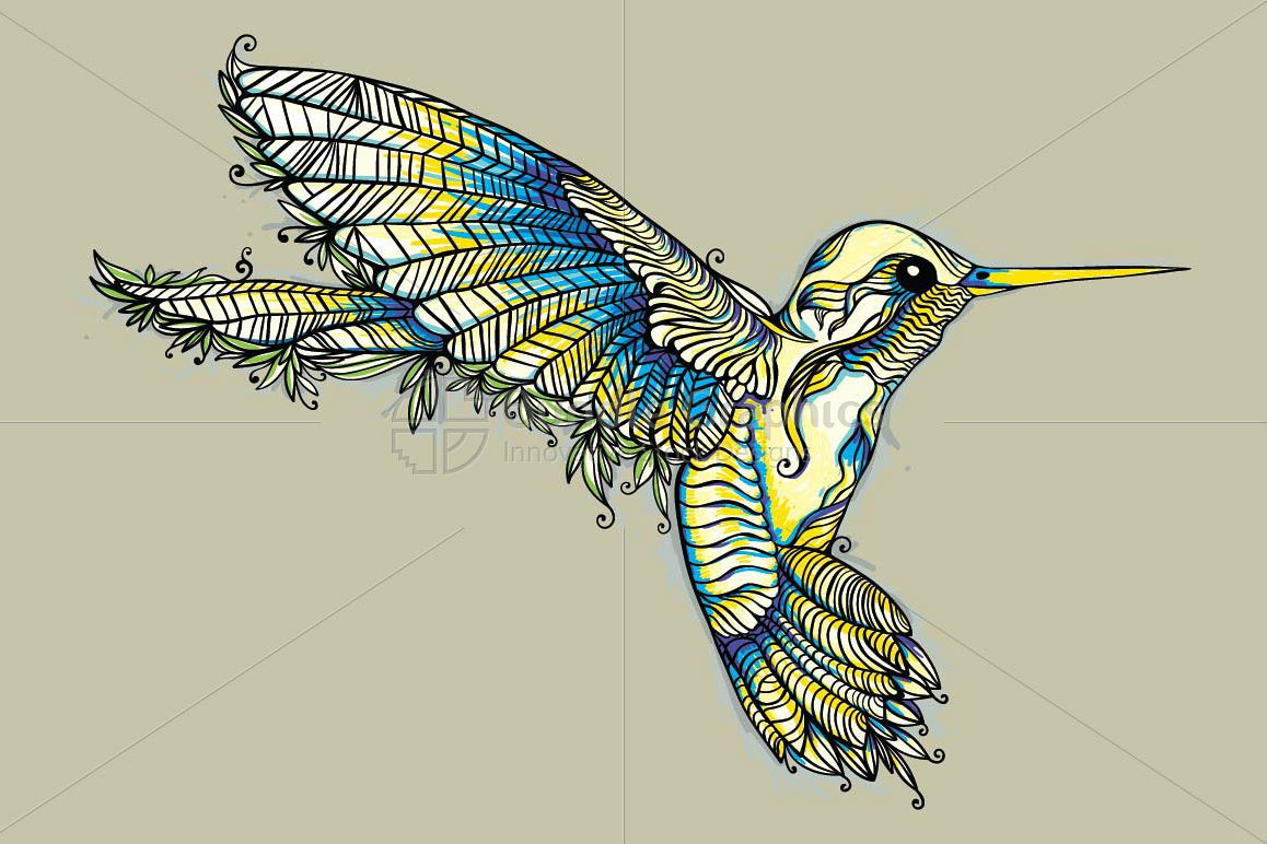 Humming Bird- Creative Linear Graphic example image 1