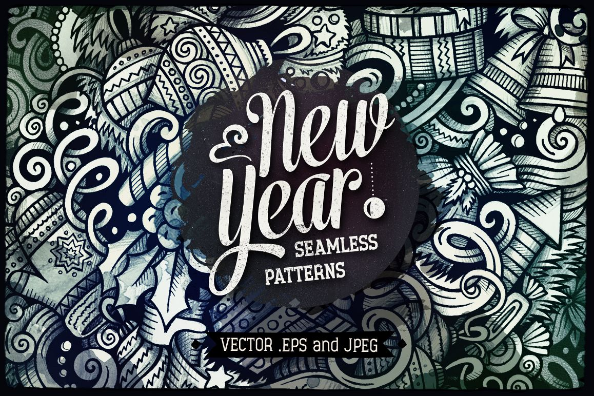 New Year Graphic Doodle Patterns example image 1