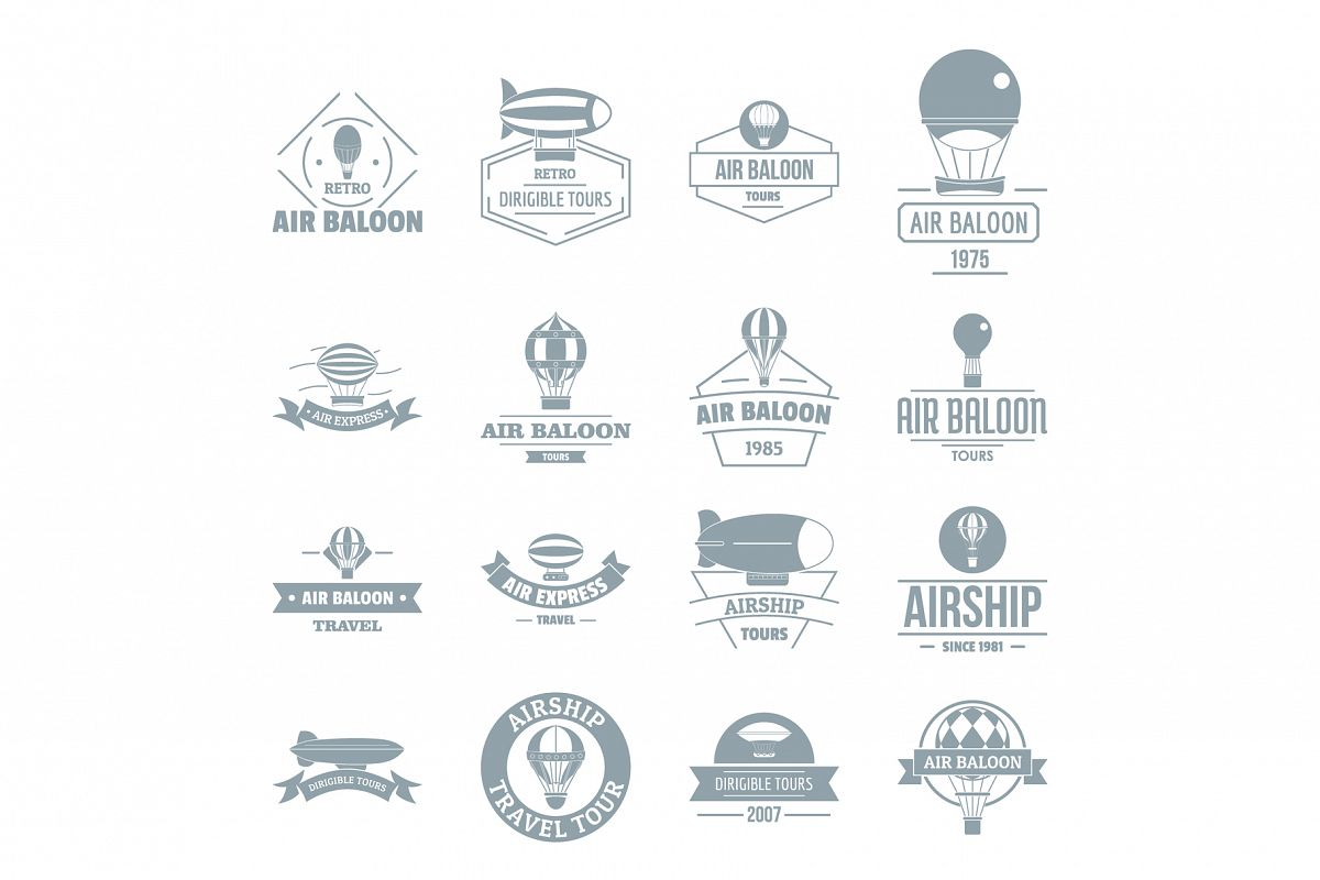 Air balloon icons set, simple style example image 1