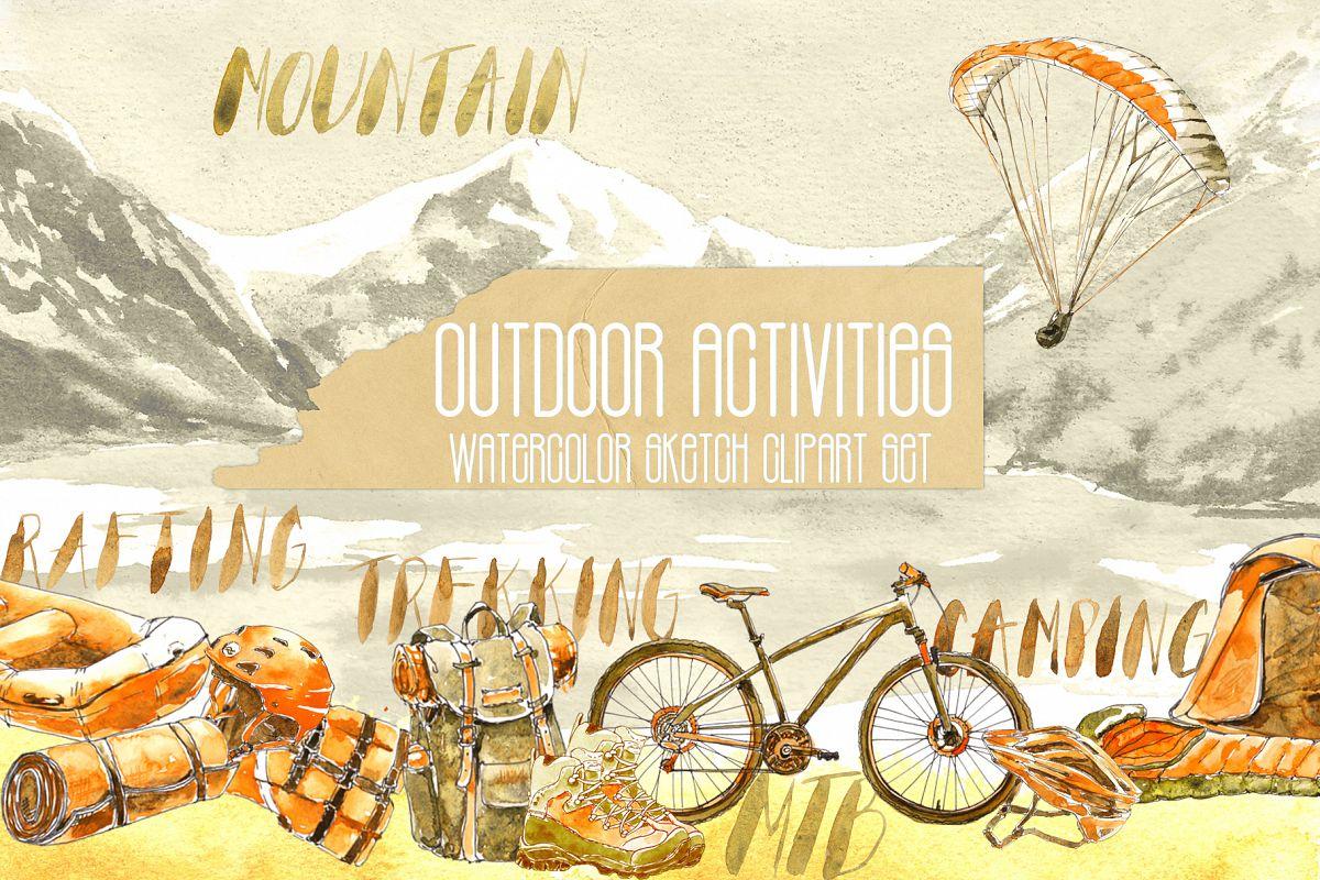 Outdoor Activities Watercolor Sketch example image 1