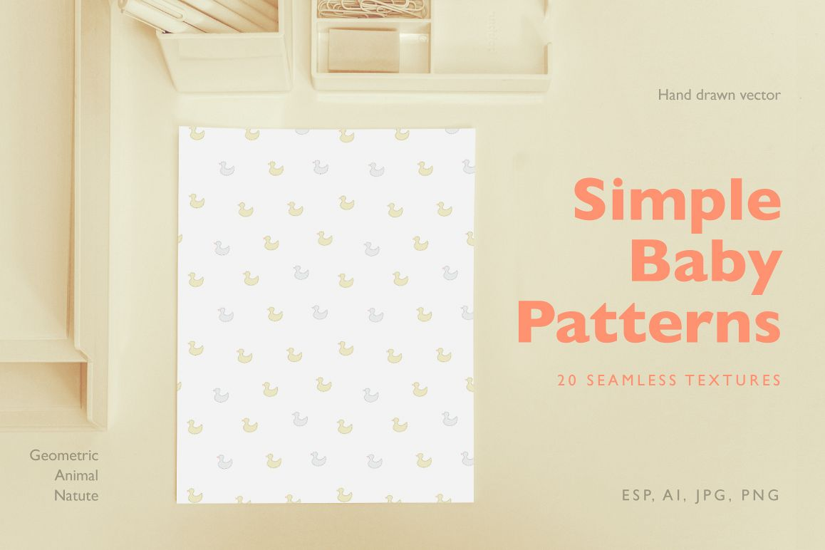 Simple Baby Patterns. Animals, nature. example image 1