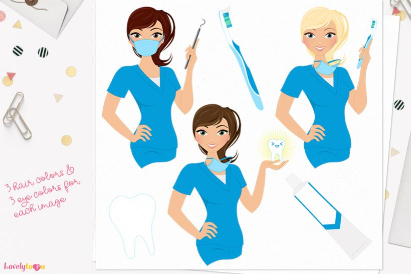 Dentist woman character clip art L399 Piper example image 1