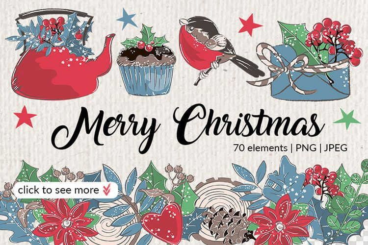 MERRY CHRISTMAS Color Clipart Illustration Set example image 1