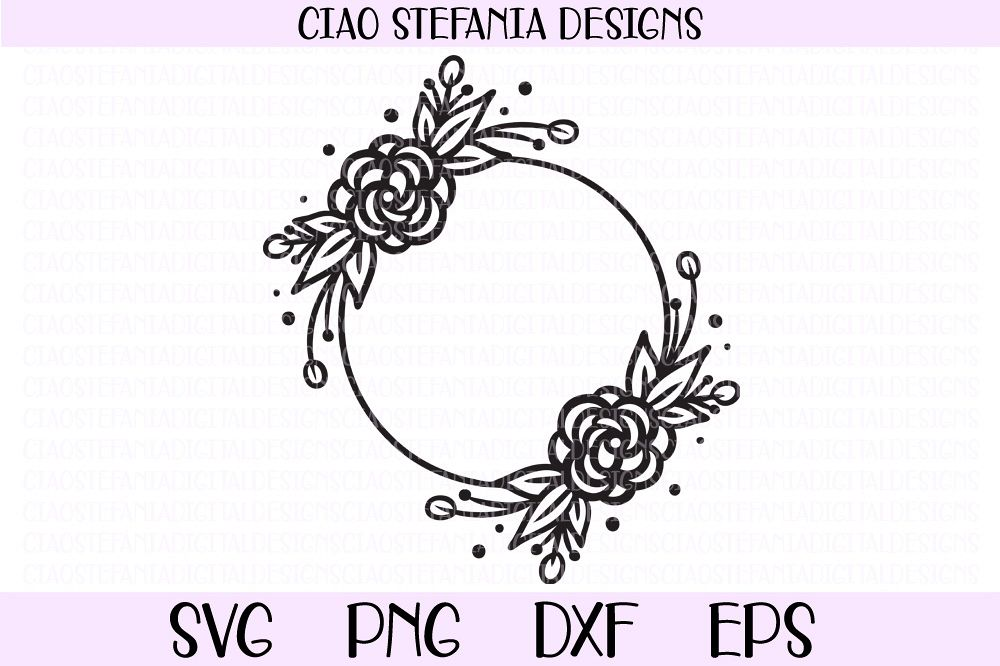 Roses Wreath Flowers Frame SVG PNG DXF EPS Cut File example image 1