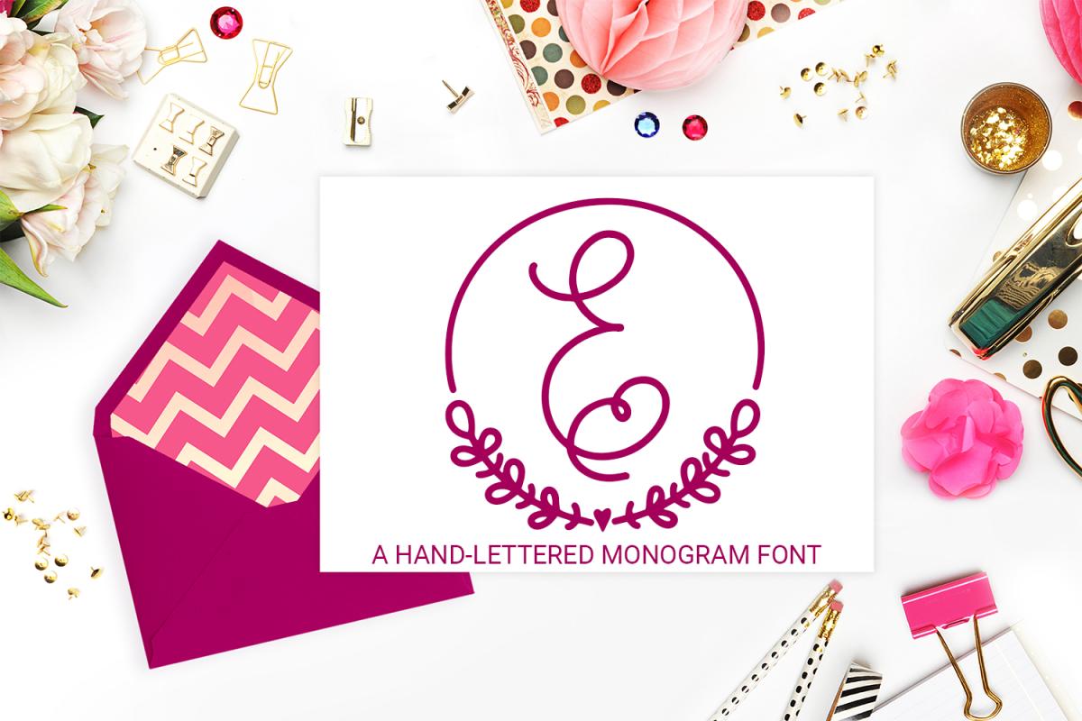 Frame Monogram - A Hand-Written Monogram Font example image 1