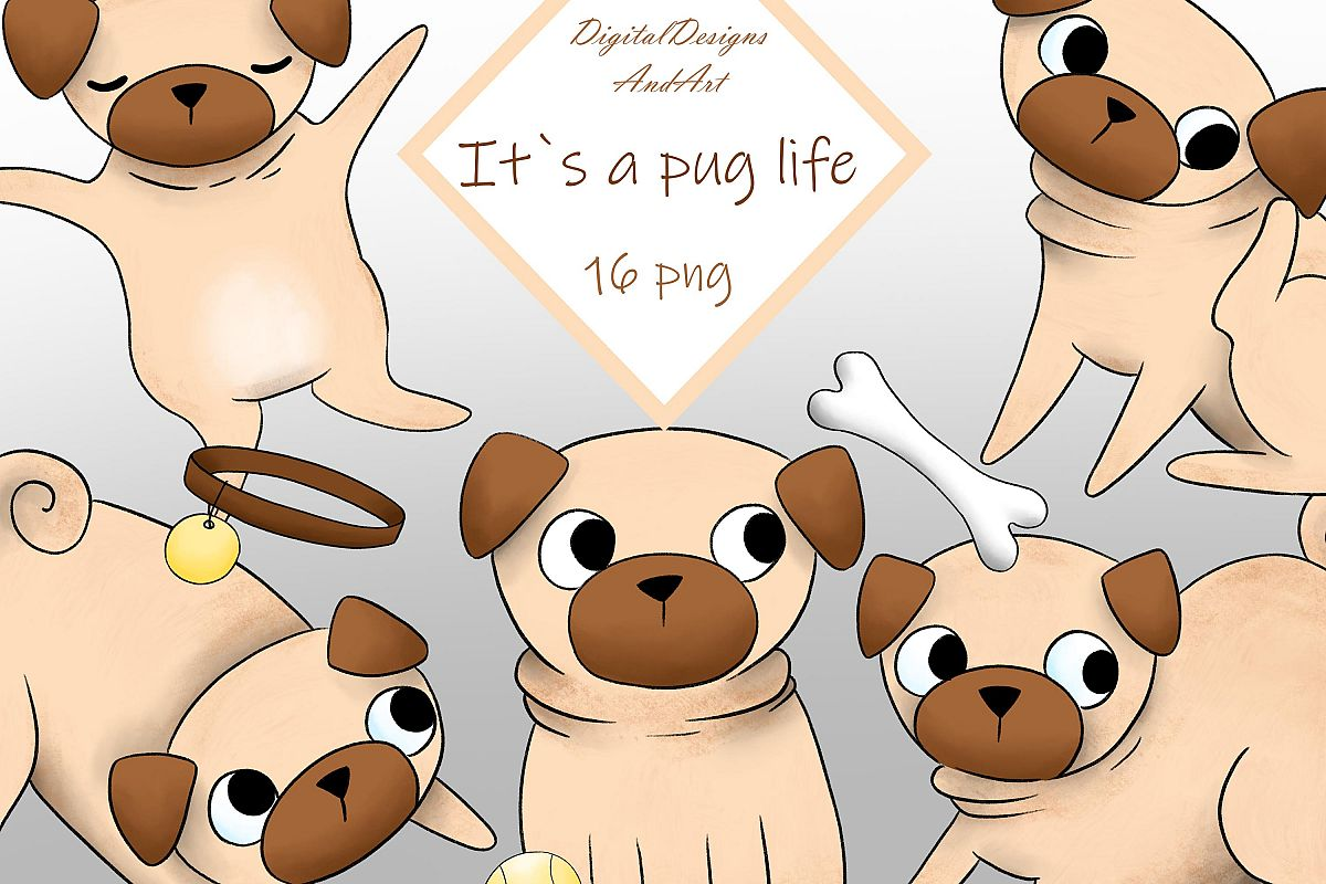 Pug clipart example image 1