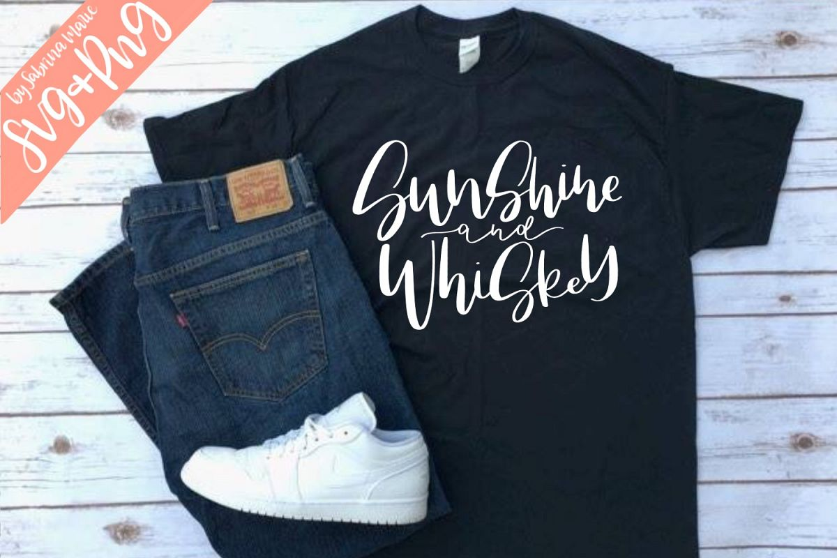 Sunshine and Whiskey Quote|Handdrawn|Cut File|SVG|PNG example image 1