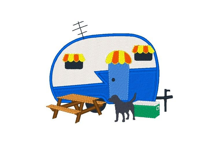 Camper Machine Embroidery Design Camping Design example image 1
