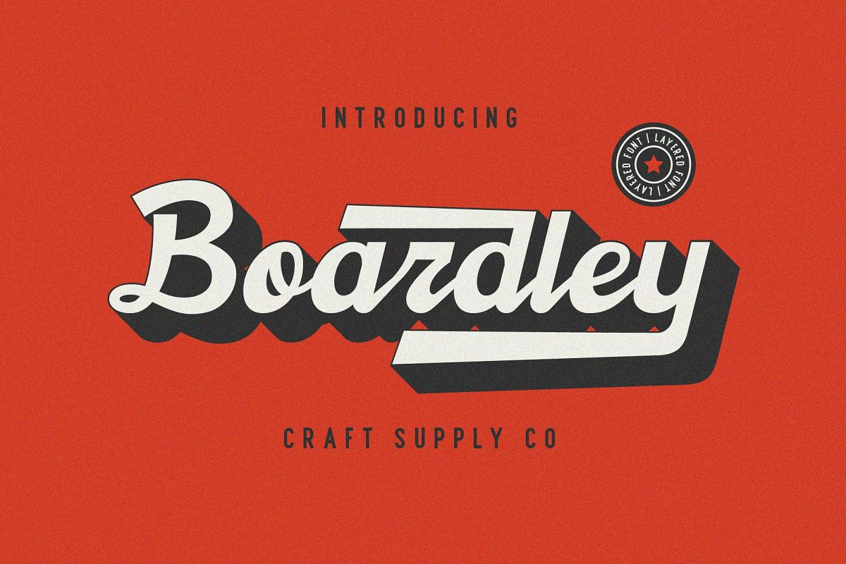 Boardley Script - Layered Font example image