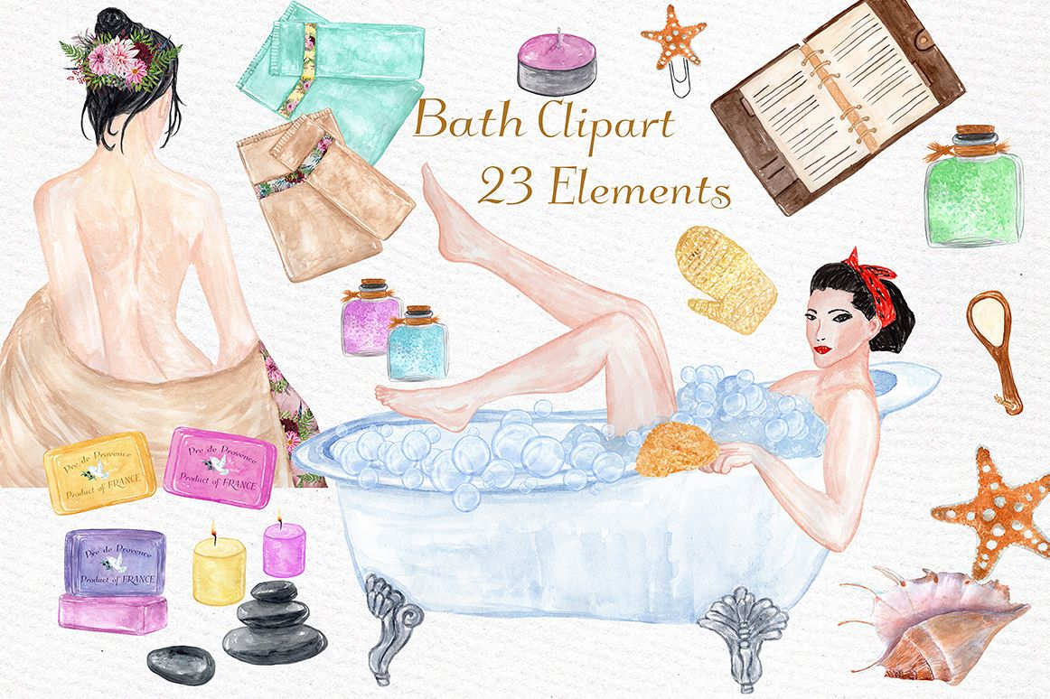 Watercolor SPA clipart example image 1