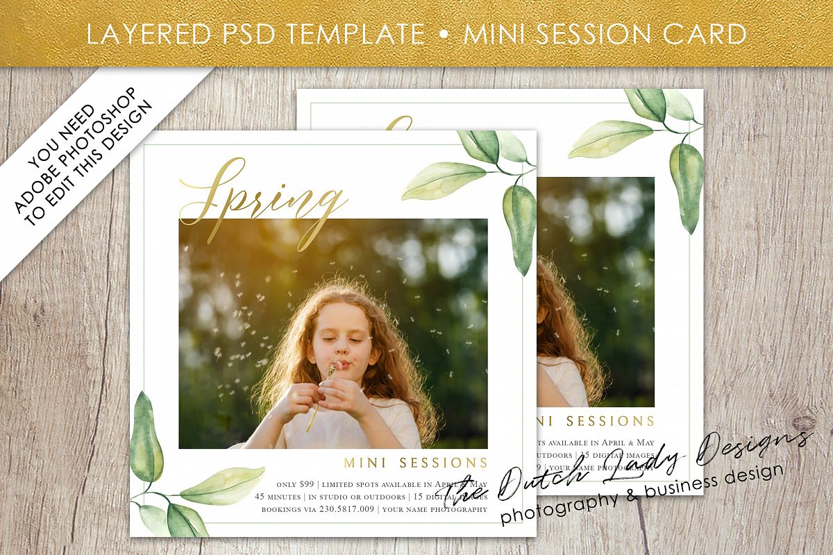 PSD Spring Photo Session Card Template - Design #35 example image 1