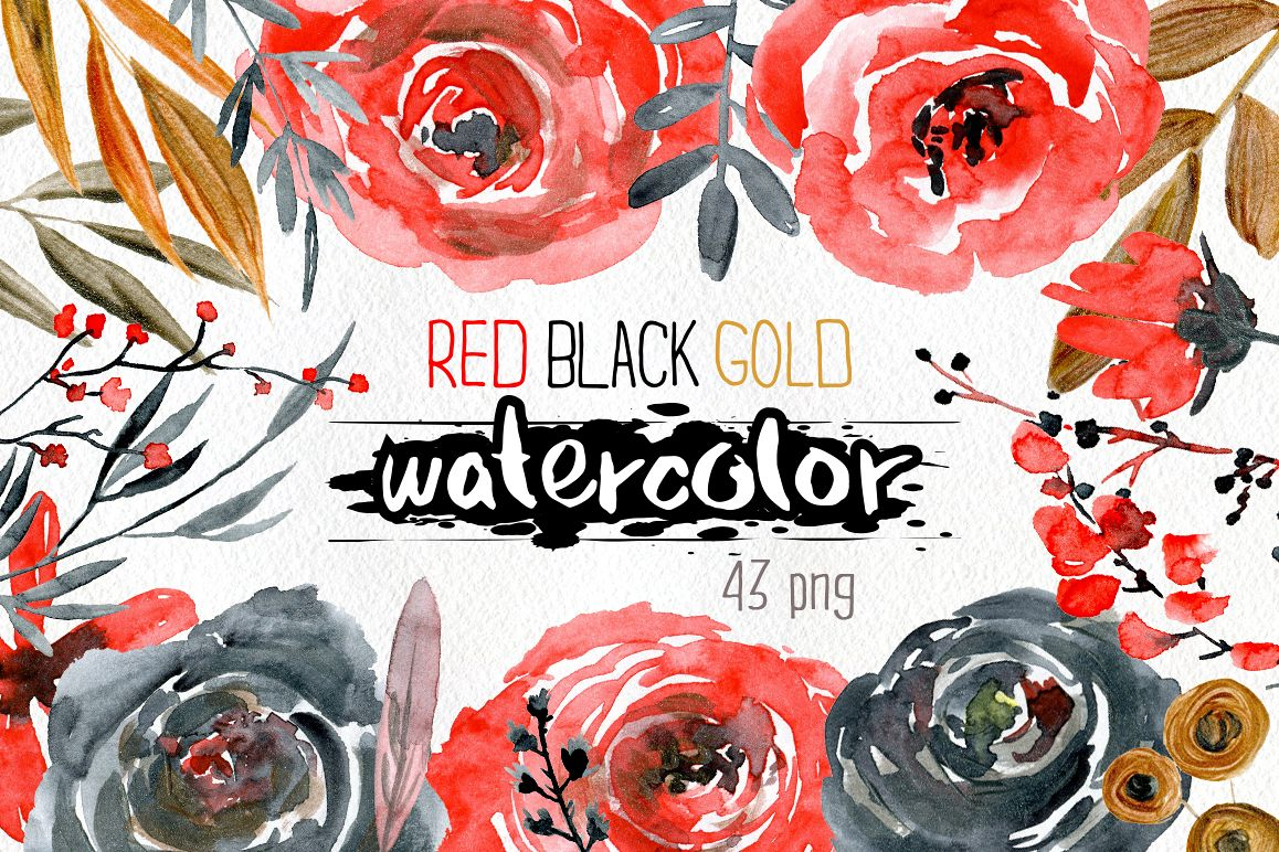 Watercolor red black gold roses flowers example image 1