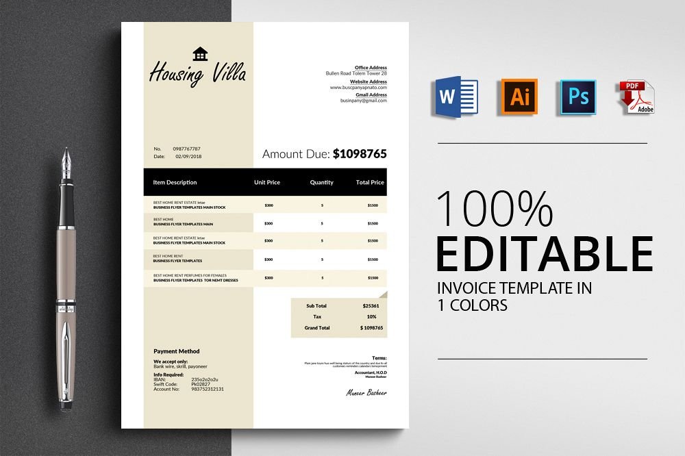 Invoice Word Template example image 1