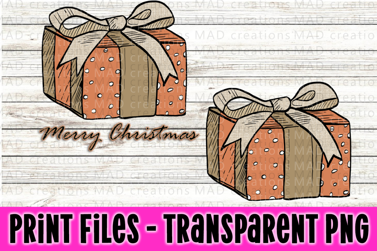Christmas Present - Rustic Peach and Tan - Print File example image 1