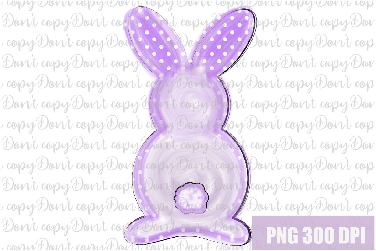 Easter Bunny watercolor polka dot Sublimation PNG Design example image 1