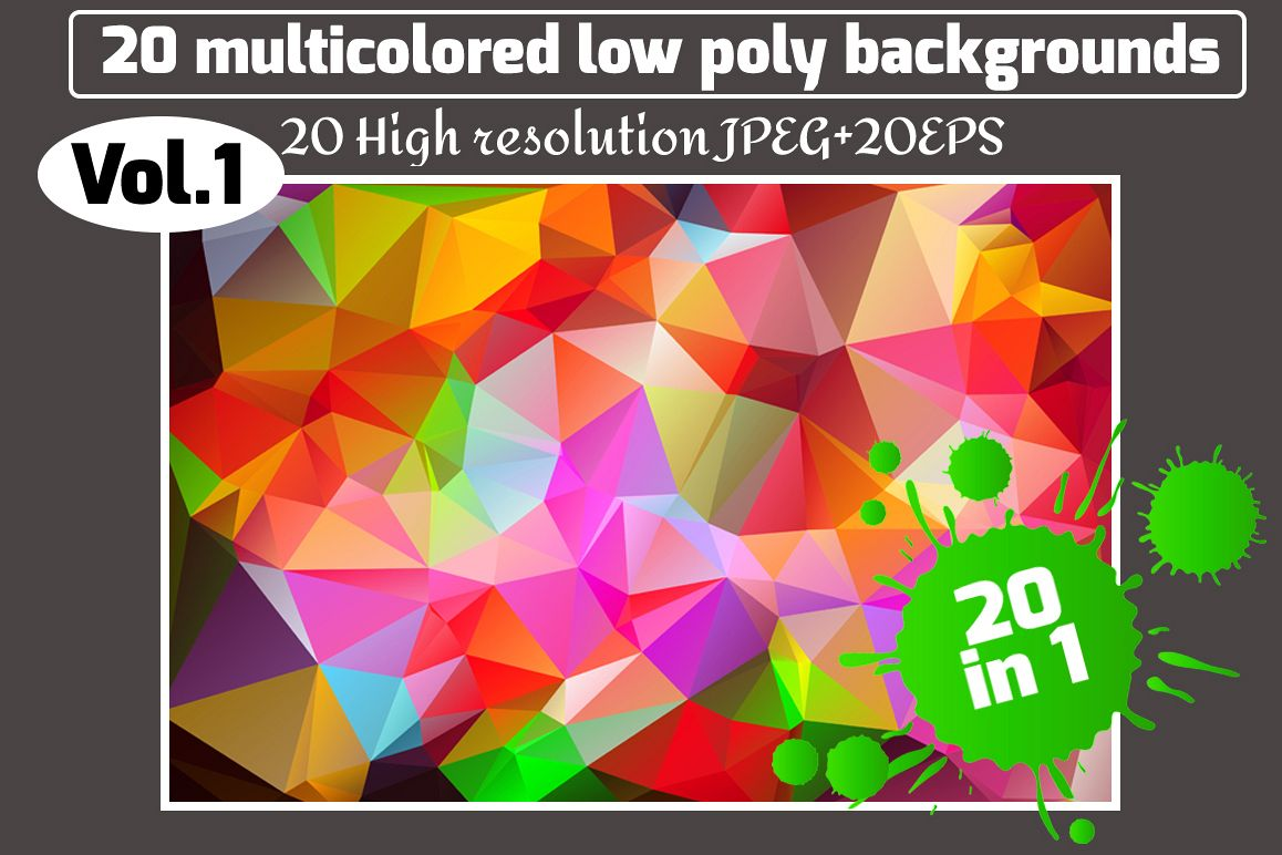 Polygon vector backgrounds set example image 1
