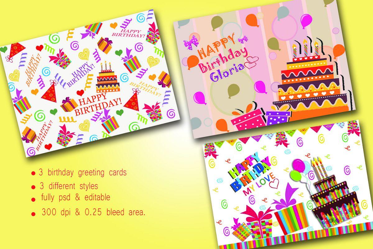 Birthday Greeting Cards Three Different Design Bundles