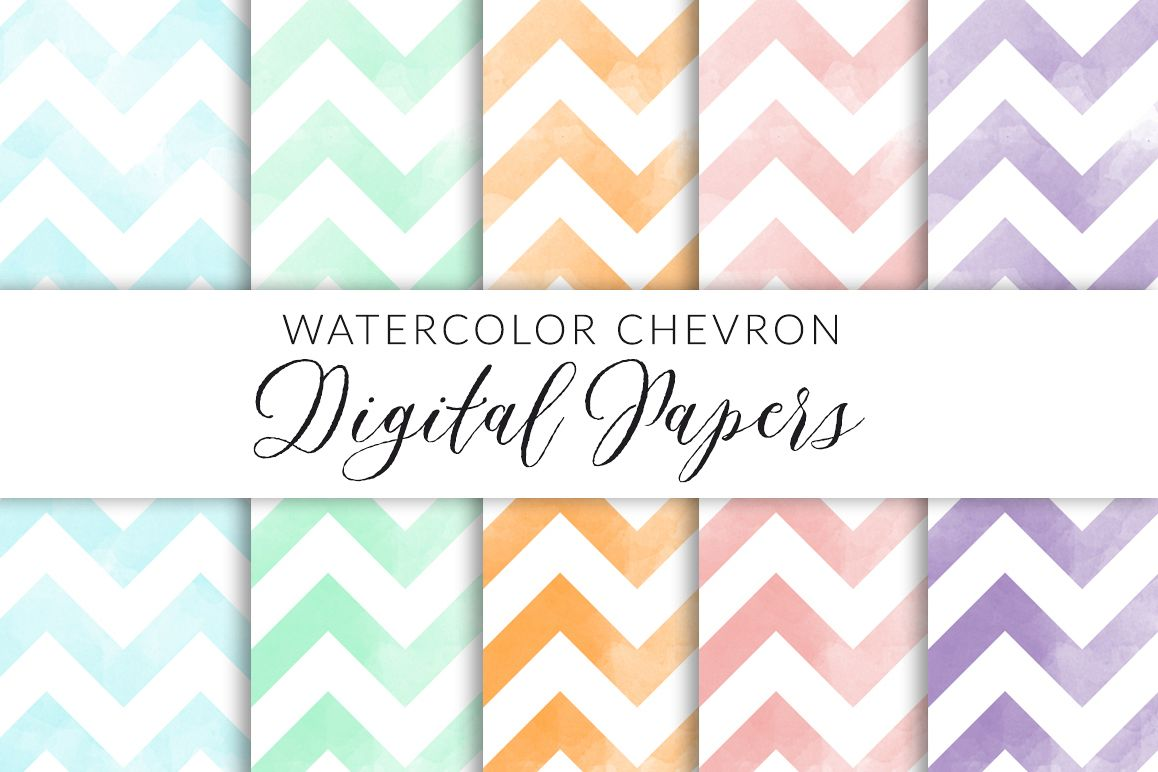 Watercolor Chevron Digital Paper example image 1