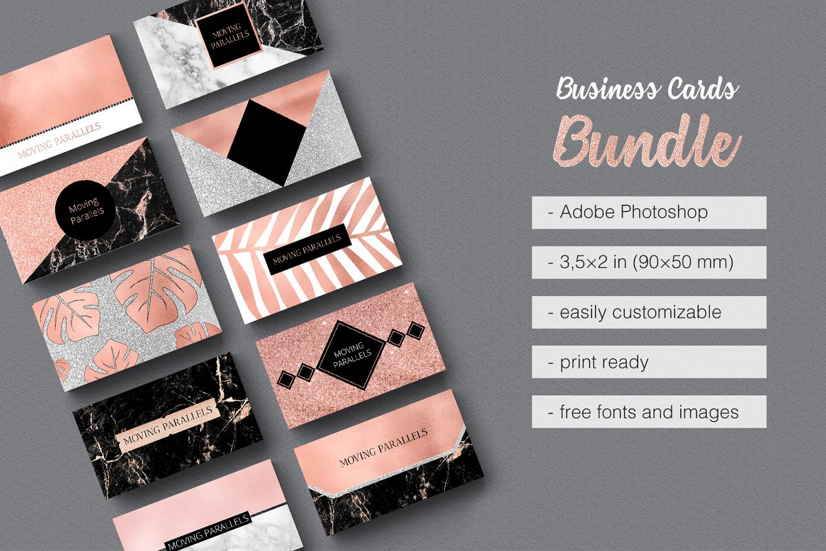 rose gold marble business cards bundle example image 1 - Rose Gold Business Cards