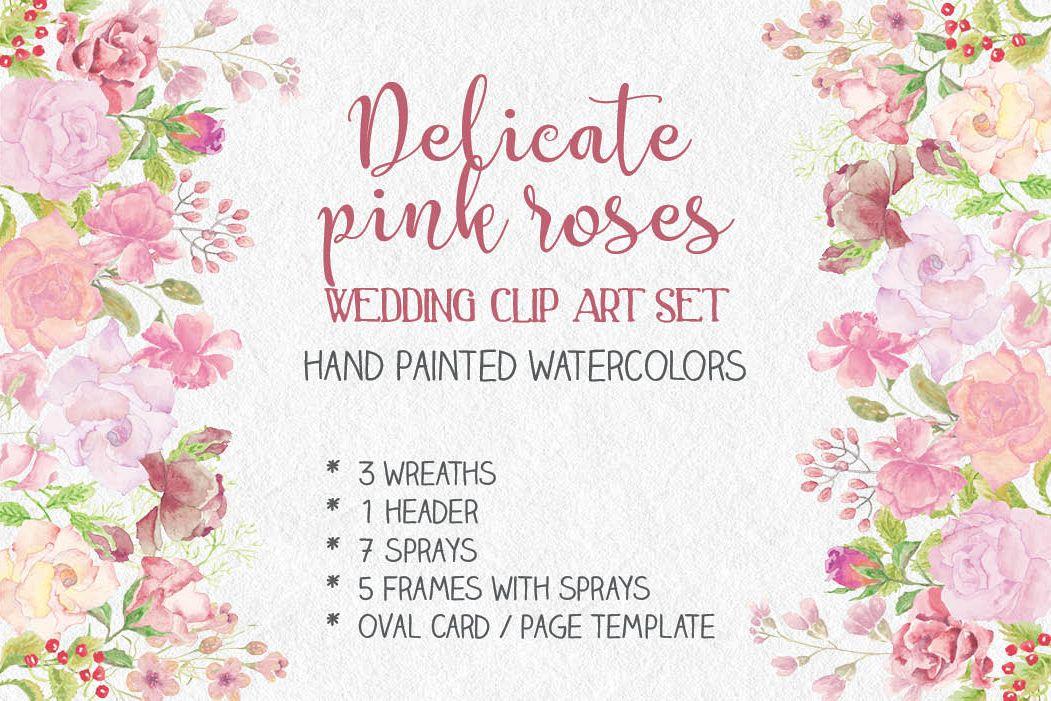 Wedding clip art bundle in blush roses example image 1