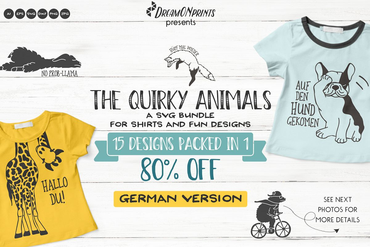 The Quirky Animals - GERMAN SVG Cut Files | Funny SVG Bundle example image 1