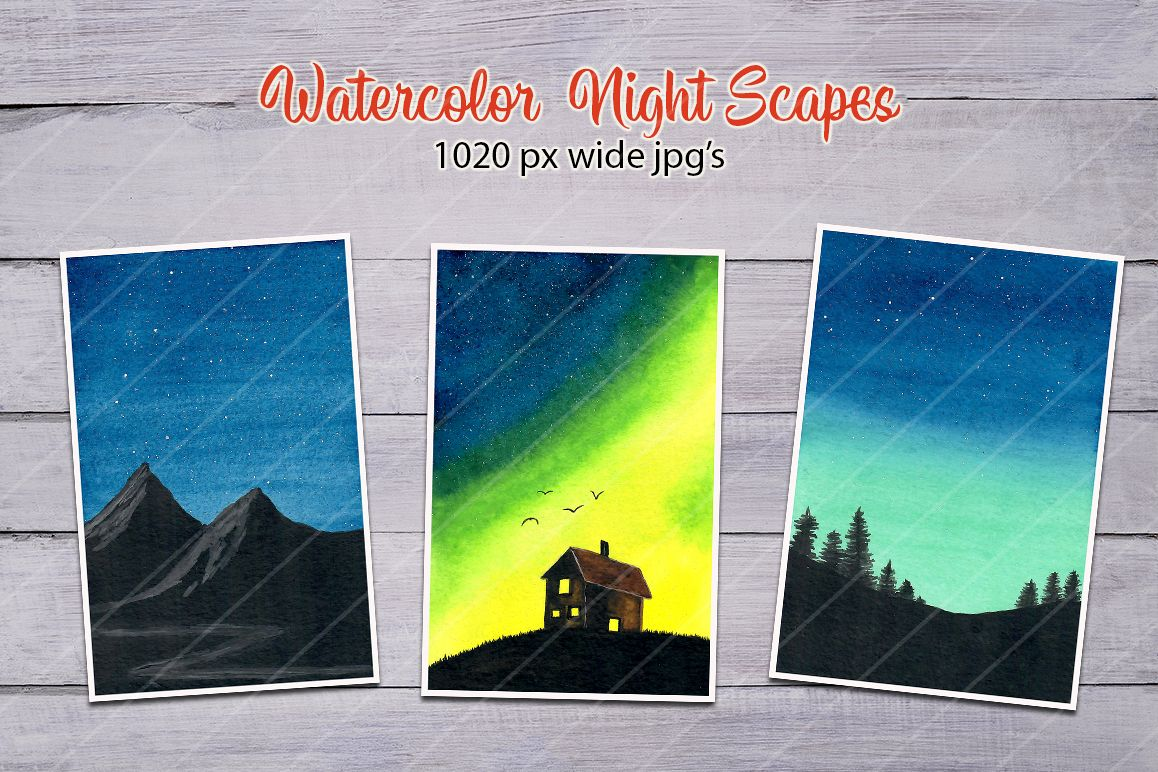 Watercolor Night Scape images/backgrounds example image 1