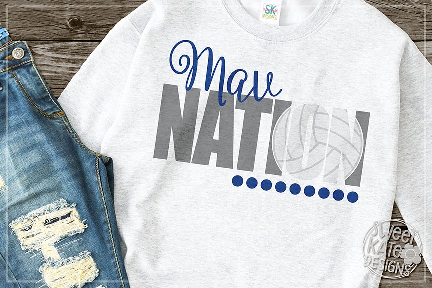 Mav Nation with Knockout Volleyball SVG DXF EPS PNG JPG example image 1