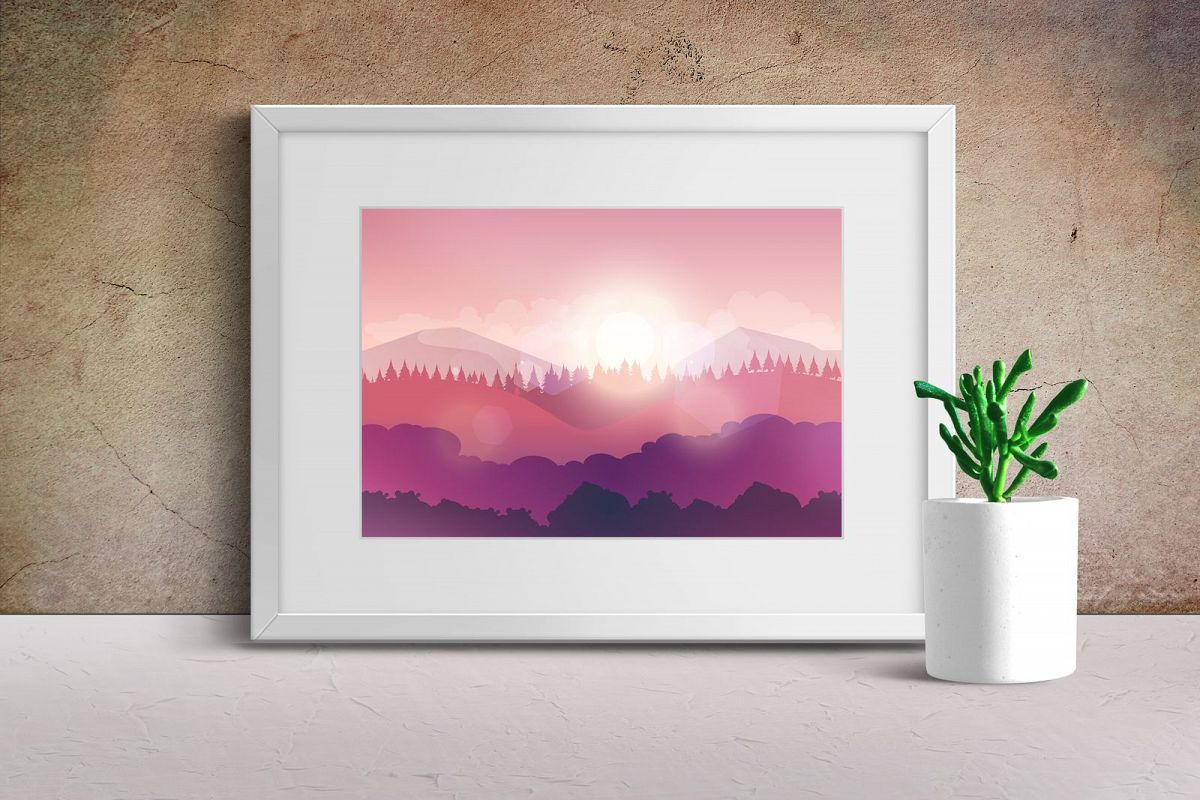 Mountains and Forest Vector Landscape example image 1