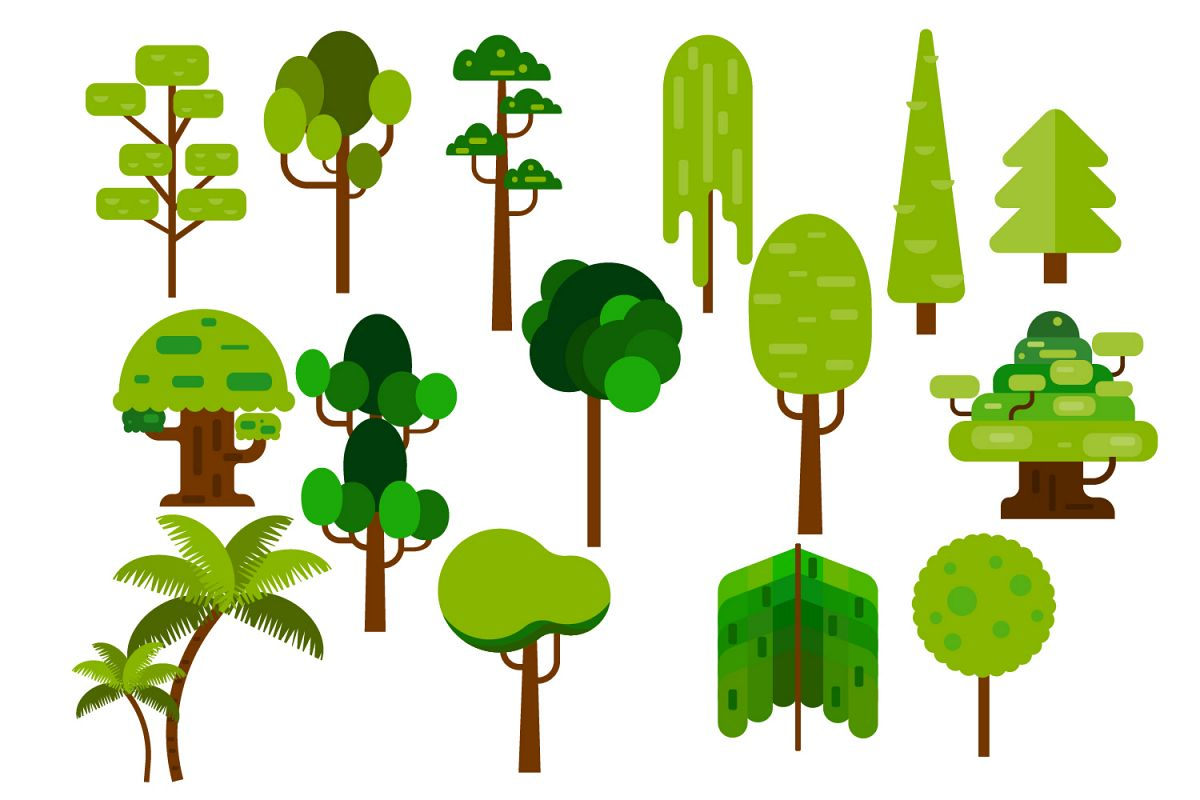 Cartoon tree elements flat design, Flat tree example image 1