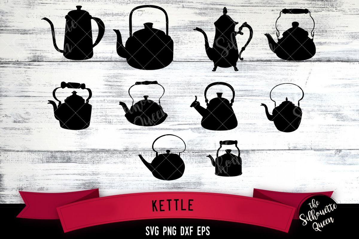 Kettle svg file, tea pot svg cut file, silhouette studio example image 1