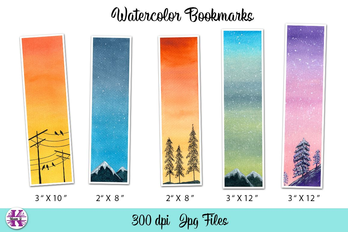 5 Watercolor Bookmarks example image 1