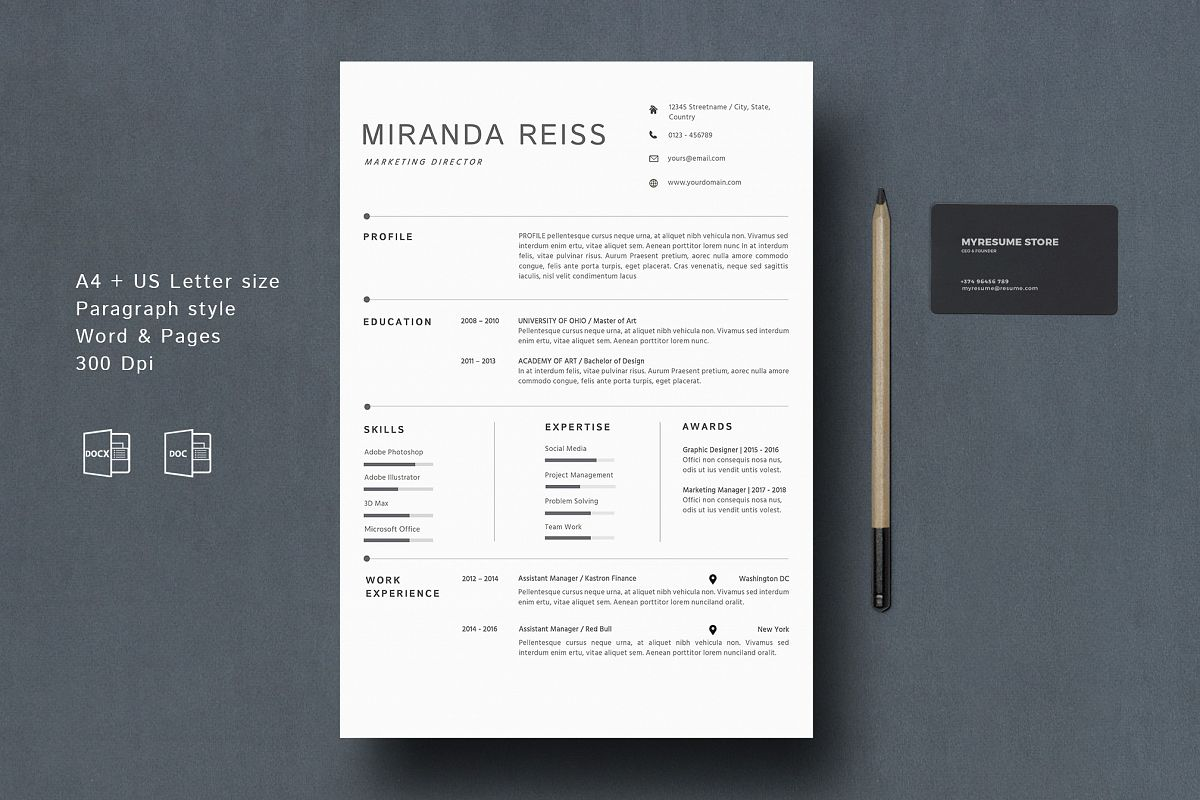 Modern Resume Template Google Docs MAC Pages