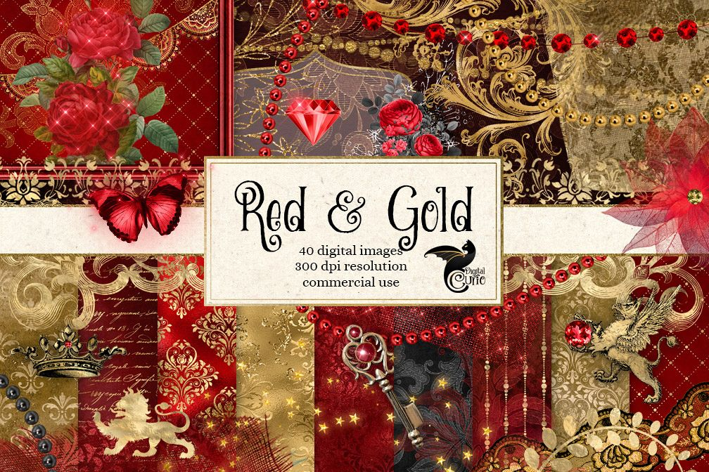 Red and Gold Digital Scrapbooking Kit example image 1