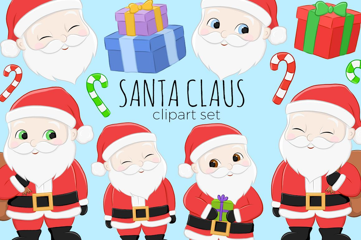 Santa Christmas Clipart Illustrations example image 1