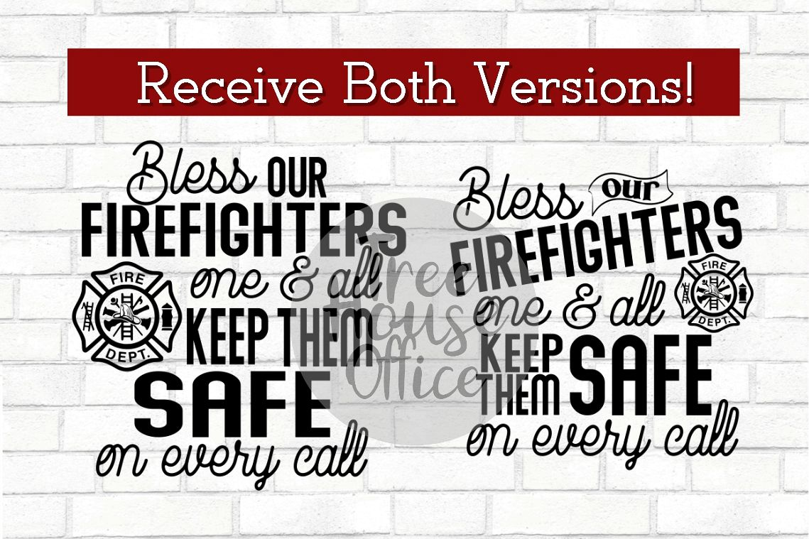 Bless Our Firefighters Fireman Maltese Fire Wife SVG DXF JPG example image 1