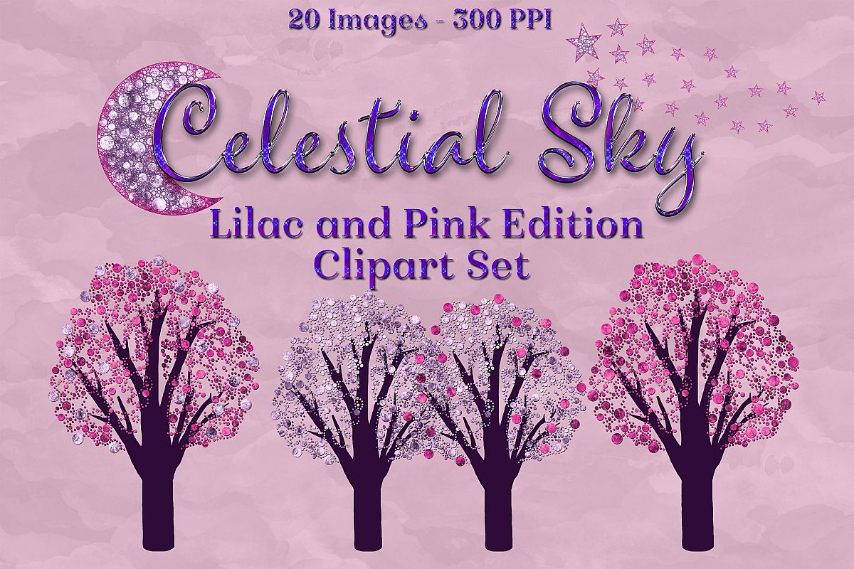 Celestial Sky Lilac and Pink Edition Clipart Set Moon Star example image 1