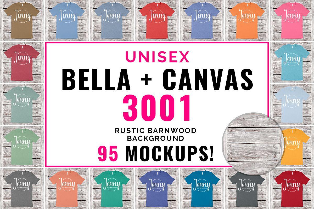 Bella Canvas 3001 Unisex Mockup Bundle, 95 Mockups example image 1