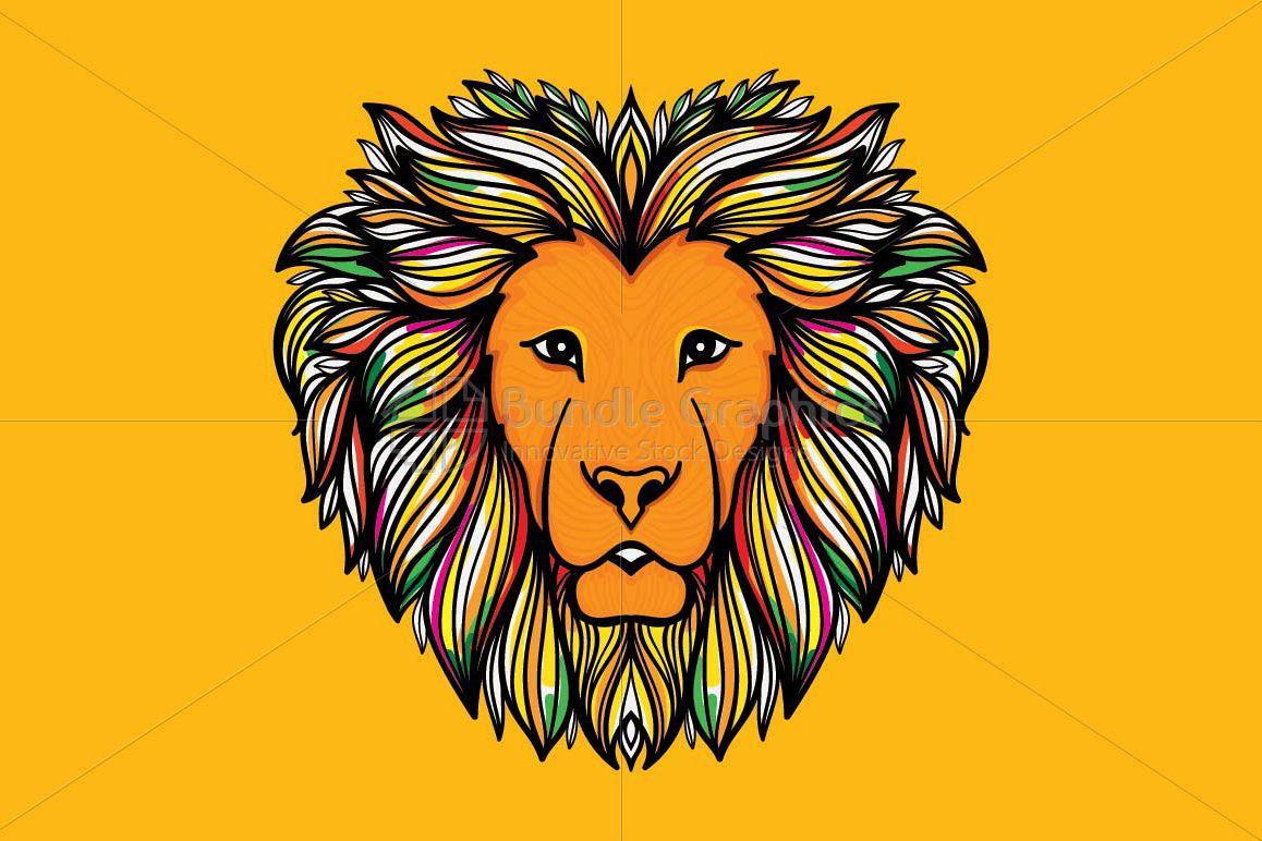 Artistic Mirror Graphics of Wild Animal Lion example image 1