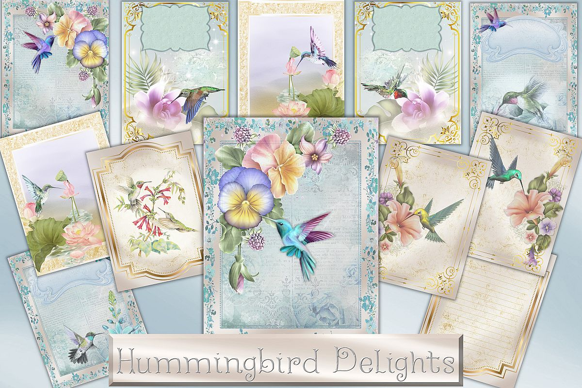Hummingbird Journaling Kit Backgrounds Commercial Use example image 1