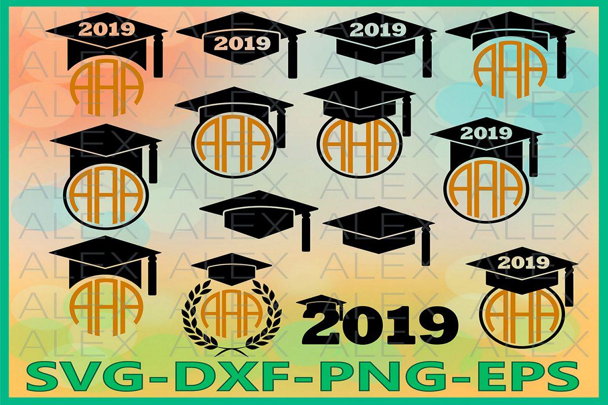 Graduation SVG, Graduation Hat, Graduation Caps monogram example image 1