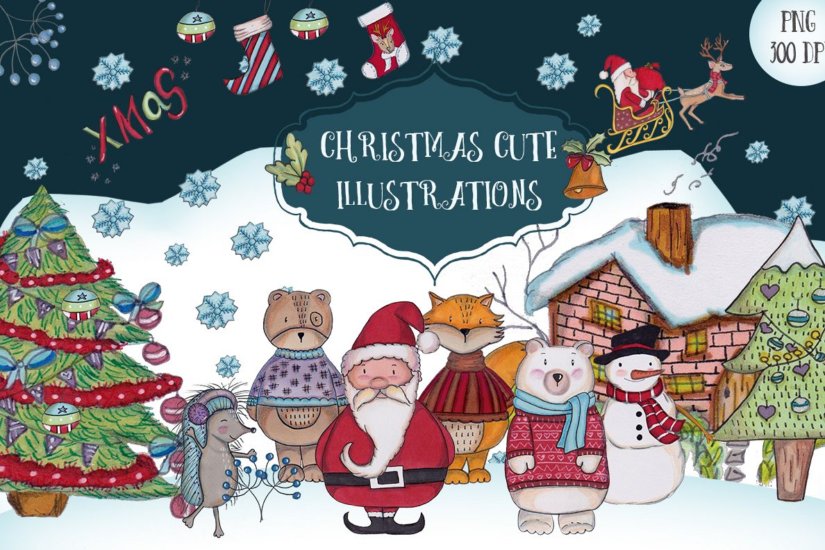 A Christmas cute illustrations set example image 1
