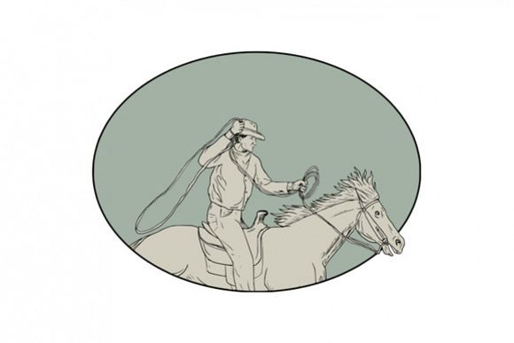 Cowboy Riding Horse Lasso Oval Drawing example image 1