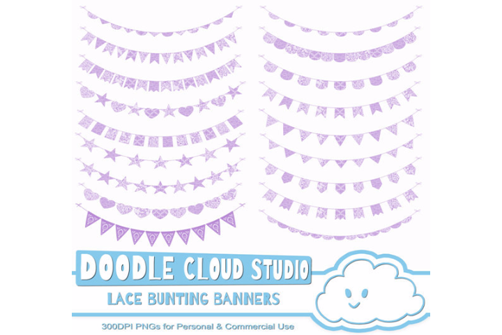 Viewing Product Malva Purple Lace Burlap Bunting Banners Cliparts